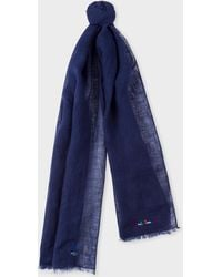 Paul Smith - Navy Linen Scarf - Lyst
