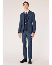 Paul Smith Le Kensington - Costume Bleu À Carreaux En Laine Loro Piana Coupe Slim