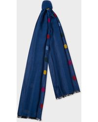 Paul Smith - Blue Cotton And Mohair-Blend Scarf With Felt Details - Lyst