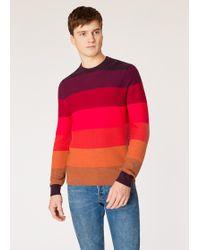 Paul Smith - Red Tonal Stripe Crew Neck Wool-blend Jumper - Lyst