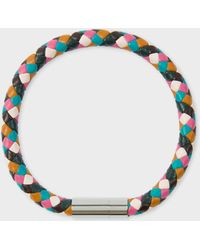 Paul Smith - Plaited Multi-Coloured Leather Bracelet - Lyst
