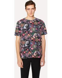 Paul Smith - Men's Slim-fit Black 'psychedelic Sun' Print T-shirt - Lyst