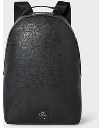 Paul Smith - Black Grained Leather Backpack - Lyst