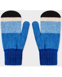 Paul Smith - Vintage Blue Stripe Wool Mittens - Lyst