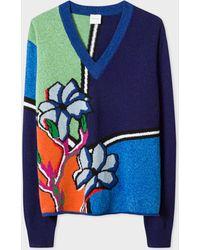Paul Smith - Dark Navy 'artist Studio' Intarsia Lambswool Sweater - Lyst