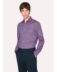 Paul Smith - Men's Tailored-fit Purple Check Cotton 'artist Stripe' Cuff Shirt - Lyst