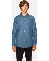Paul Smith - Tailored-Fit Blue Chambray Shirt With 'Artist Stripe' Pocket Embroidery - Lyst
