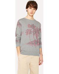 Paul Smith - Slim-Fit Grey Loopback-Cotton Sweatshirt With 'Midnight' Jacquard - Lyst