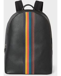 Paul Smith - Black Leather 'Bright Stripe' Backpack - Lyst