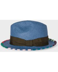 Paul Smith - Slate Blue Woven Straw Fedora Hat With Multi-coloured Stitching - Lyst