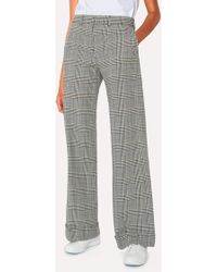 Paul Smith - Black And White Check Cotton Wide Leg Trousers - Lyst