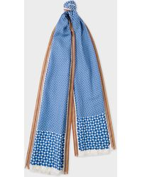 Paul Smith - Blue Geometric Motif Silk-Blend Scarf - Lyst