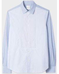 Paul Smith - Chemise Rayée Bleue Et Blanche Avec Plastron En Coton - Lyst