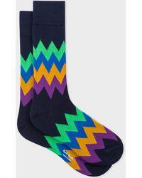 Paul Smith - Navy Zig-Zag Stripe Socks - Lyst