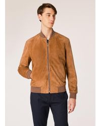 Paul Smith - Tan Suede Bomber Jacket With 'artist Stripe' Cuff Linings - Lyst