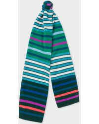 Paul Smith - Green Multi-Coloured Stripe Wool Scarf - Lyst