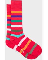 Paul Smith - Red Multi-Coloured Stripe Socks - Lyst