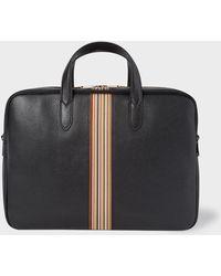 Paul Smith - Black Signature Stripe Leather Business Folio - Lyst