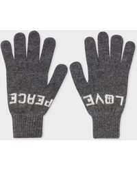 Paul Smith - Grey 'Peace & Love' Wool Gloves - Lyst
