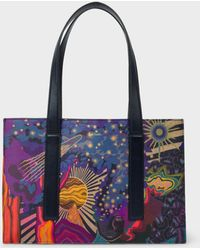 Paul Smith - Concertina 'Dreamer' Print Small Leather Tote Bag - Lyst