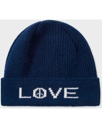 Paul Smith - Navy 'Peace And Love' Wool Beanie Hat - Lyst