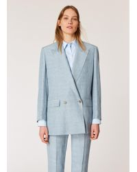 Paul Smith - Relaxed-fit Pastel Blue Double Breasted Linen-blend Blazer - Lyst