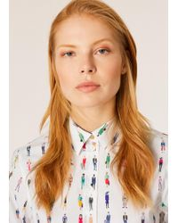 Paul Smith - Slim-fit White 'people' Print Poplin Cotton Shirt - Lyst