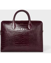 Paul Smith - Burgundy 'Bright Stripe' Mock-Croc Leather Business Folio - Lyst
