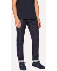 Paul Smith - Tapered-Fit 13oz 'Pink Italian Twin Selvedge' Dark-Wash Denim Jeans - Lyst