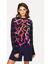 Paul Smith - Navy 'Ribbon' Print Knitted Jumper - Lyst