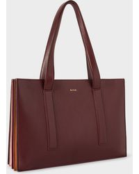 Paul Smith - Women's Burgundy 'concertina' Small Leather Tote Bag - Lyst