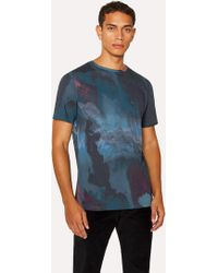 Paul Smith - Blue Marble-Effect Cotton T-Shirt - Lyst