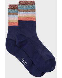 Paul Smith - Navy Glitter Stripe Semi-Sheer Socks - Lyst