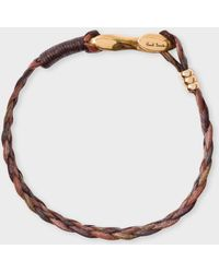 Paul Smith - Men's Brown Five-strand Plaited Leather Bracelet - Lyst