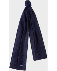 Paul Smith - Navy Pin Dot Silk-blend Scarf - Lyst