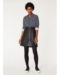Paul Smith - Black Leather Skirt With Front Pockets - Lyst