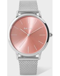 Paul Smith - Unisex Light Salmon Pink And Stainless Steel 'Ma' Watch - Lyst