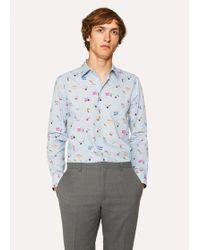 Paul Smith - Slim-Fit Sky Blue 'Soho' Print Shirt With 'Artist Stripe' Cuff Lining - Lyst
