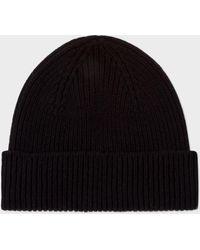 Paul Smith   Men's Black Cashmere-Blend Beanie Hat   Lyst