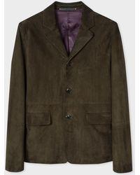 Paul Smith - Dark Green Suede Jacket - Lyst