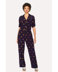 Paul Smith - Navy 'Kyoto Floral' Silk Jumpsuit - Lyst