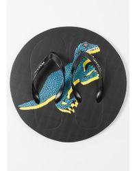 Paul Smith - Black 'Dino' Print Flip Flops - Lyst