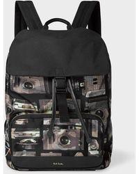 f6b7d7021 Paul Smith Men's Canvas 'Paint Brush' Print Backpack in Black for Men - Lyst