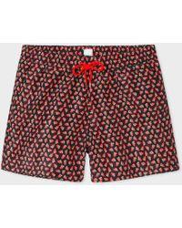 Paul Smith - Men's Black 'strawberry Skull' Print Swim Shorts - Lyst