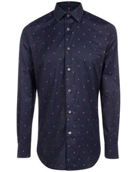 Paul Smith - Men's Tailored-fit Navy 'strawberry' Fil Coupé Cotton-twill Shirt - Lyst