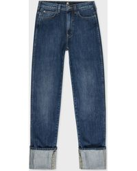 Paul Smith - Women's Japanese Mid-wash Turn-up Jeans - Lyst