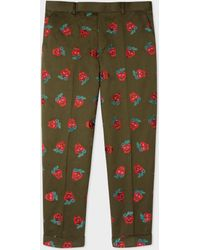 Paul Smith - Men's Khaki 'strawberry Skull' Embroidered Cotton And Linen-blend Tapered Trousers - Lyst