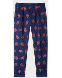 Paul Smith - Men's Indigo 'strawberry Skull' Embroidered Cotton And Linen-blend Tapered Trousers - Lyst