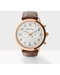 Paul Smith - Men's White And Brown 'precision' Chronograph Watch - Lyst