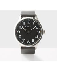 Paul Smith - Men's Black With Silver Case 'tempo' Watch - Lyst